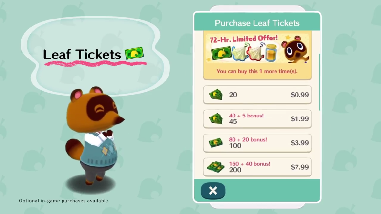 Animal Crossing Pocket Camp, Free To Play, Mobile Game, Nintendo, Tom Nook, Leaf Tickets, iOS, Android