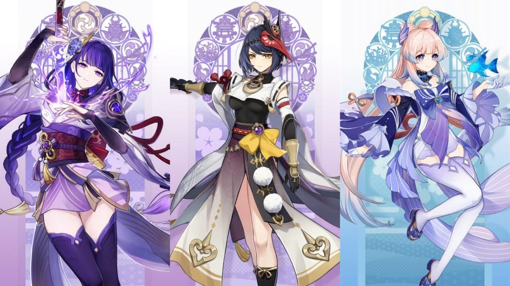 genshin impact, mihoyo, open world, jrpg, ps4, pc, ios, android, free to play, new character, version 2.0, Inazuma, Raiden Shogun, Baal, Kujou Sara, Sangonomiya Kokomi