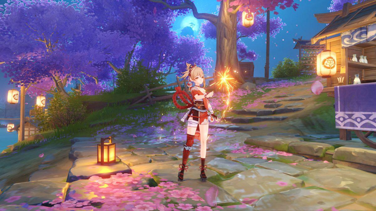 genshin impact, mihoyo, open world, jrpg, ps4, pc, ios, android, free to play, new character, version 2.0, Yoimiya, Pyro, 5-Star, Bow, Inazuma